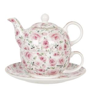 Set ceainic cu ceasca din portelan decor trandafiri roz 16 cm x 11 cm x 14 h / 0.4 L