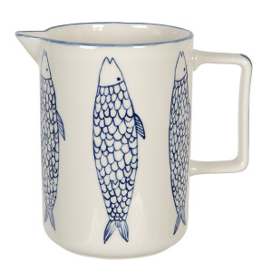 Carafa din ceramica alba albastra 18 cm x 11 cm x 16 h