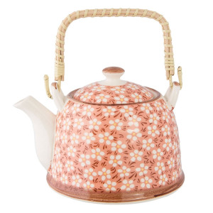 Ceainic din ceramica alba roz 18 cm x 14 cm x 12 h / 0.7 L