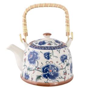 Ceainic din ceramica alba albastra 18 cm x 14 cm x 12 h / 0.7 L