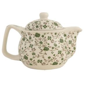 Ceainic din ceramica alba verde Ø 16 cm x 11 h / 0.4 L