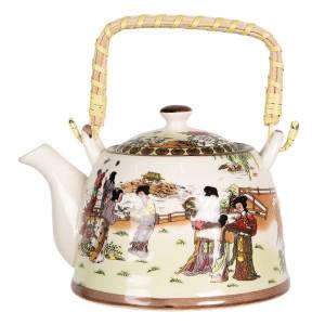 Ceainic din portelan multicolor peisaj Chinezesc 18 cm x 14 cm x 12 h / 0.8 L