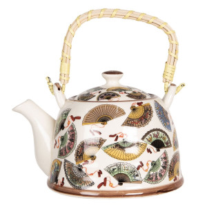 Ceainic din portelan multicolor Etnic 18 cm x 14 cm x 12 h / 0.8 L