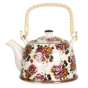 Ceainic din portelan multicolor Roses 18 cm x 14 cm x 12 h / 0.8 L