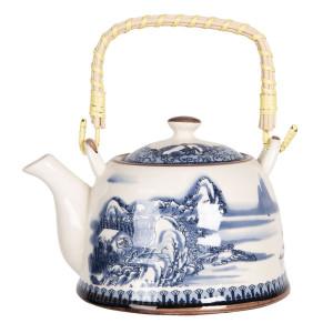 Ceainic din portelan alb albastru 18 cm x 14 cm x 12 h / 0.8 L
