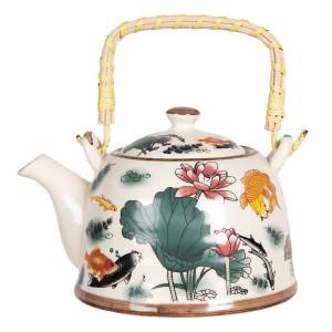 Ceainic din portelan multicolor decor Floral 18 cm x 14 cm x 12 h / 0.8 L