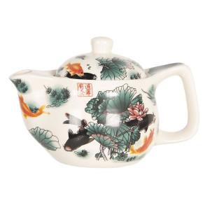 Ceainic din portelan multicolor decor Floral Ø 16 cm x 11 h / 0.4 L