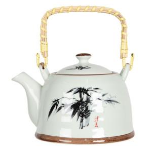 Ceainic din portelan alb negru 18 cm x 14 cm x 12 h / 0.8 L