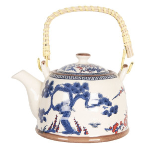 Ceainic din portelan alb albastru rosu 18 cm x 14 cm x 12 h / 0.8 L