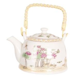 Ceainic din portelan alb si decor Floral 18 cm x 14 cm x 12 h / 0.8 L