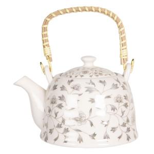 Ceainic din portelan alb si decor Floral bej 18 cm x 14 cm x 12 h / 0.8 L