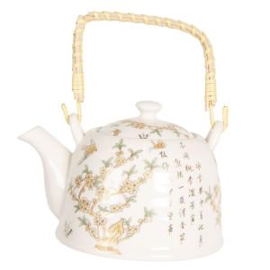 Ceainic din portelan alb si decor Floral galben 18 cm x 14 cm x 12 h / 0.8 L