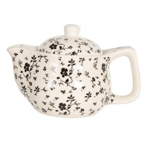Ceainic din portelan alb negru Ø 16 cm x 11 h / 0.4 L