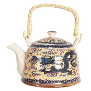 Ceainic din portelan multicolor decor Dragon 18 cm x 14 cm x 12 h / 0.8 L