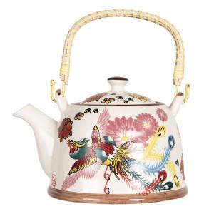 Ceainic din portelan multicolor 18 cm x 14 cm x 12 h / 0.8 L