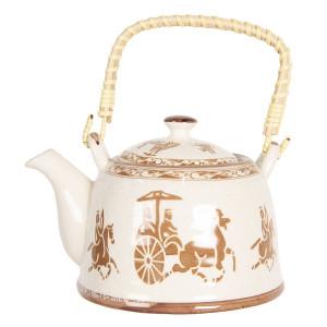 Ceainic din portelan alb maro 18 cm x 14 cm x 12 h / 0.8 L