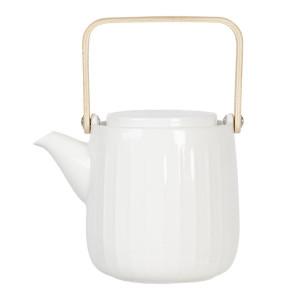 Ceainic din portelan alb cu maner auriu 16 cm x 11 cm x 20 h / 0.8 L