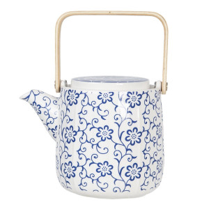 Ceainic din portelan alb albastru cu maner auriu 16 cm x 11 cm x 12 h / 0.8 L