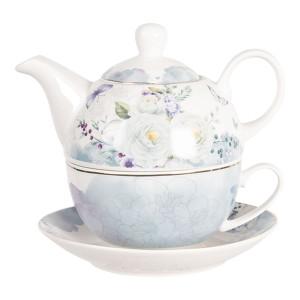 Set ceainic cu ceasca din portelan decor floral albastru 16 cm x 15 cm x 14 h / 0.46 L