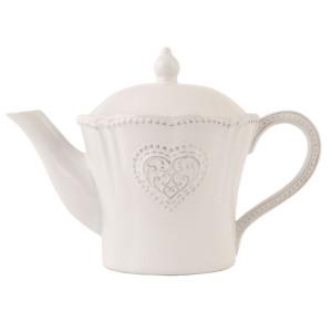 Ceainic din ceramica alba 25 cm x 15 cm x 17 h / 0.9 L