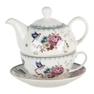 Set ceainic cu ceasca din portelan decor floral roz albastru Ø 16 cm x 15 cm x 15 h / 0.46 L