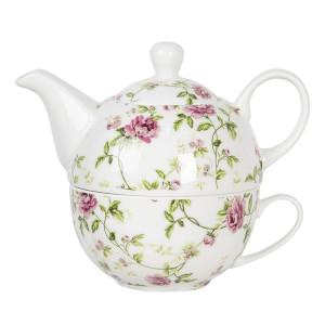 Set ceainic cu ceasca din portelan decor floral roz