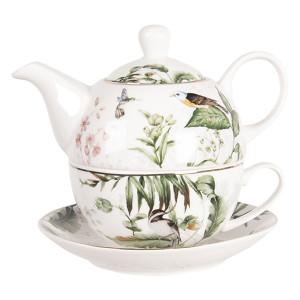 Set ceainic cu ceasca din portelan decor Bird