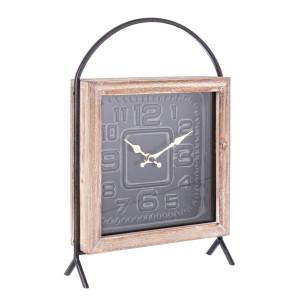 Ceas masa lemn natur cu suport metal negru Ticking 23 cm x 7 cm x 34 h