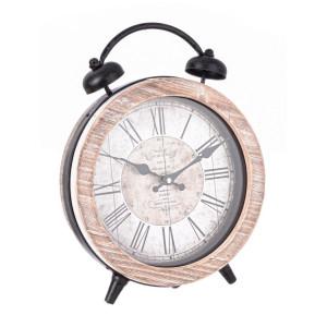 Ceas masa lemn natur cu suport metal maro Ticking 25.5 cm x 8 cm x 32 h
