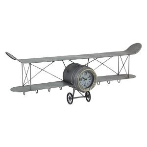 Ceas de perete din metal gri model Avion 95 cm x 17.5 cm x 34 h