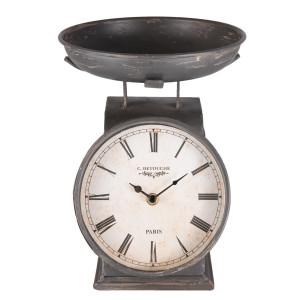 Ceas de masa din metal gri antichizat 21 cm x 23 cm x 26 h
