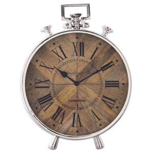 Ceas de masa din metal argintiu lemn maro 30 cm x 10 cm x 41 cm