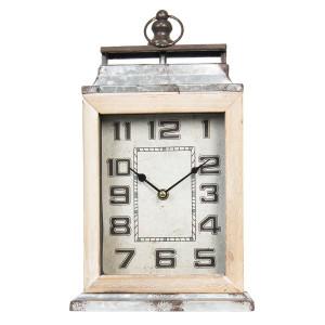 Ceas de masa din metal gri antichizat si lemn natur 20 cm x 8 cm x 34 h