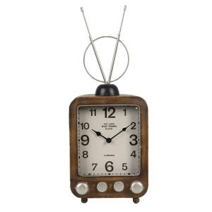 Ceas de masa din metal maro model TV Retro 20 cm x 11 cm x 50 h