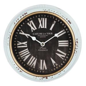 Ceas de perete din metal alb antichizat Ø 24 cm x 3 cm