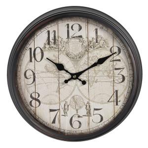 Ceas de perete cu rama din metal gri Harta Lumii Ø 36 cm x 12 cm