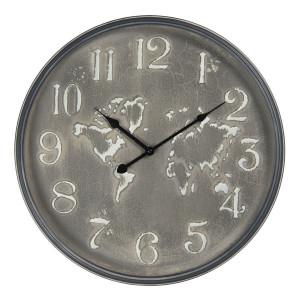 Ceas de perete din metal gri Harta Lumii Ø 48 cm x 6 cm