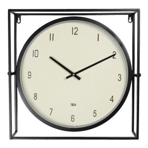 Ceas de perete din metal negru  48 cm x 10 cm x 45 h