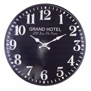 Ceas de perete din metal negru alb Ø 40 cm x 2.5 cm