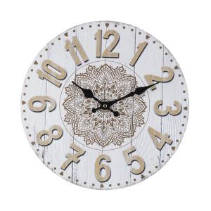 Ceas de perete din lemn alb natur Mandala Ø 34 cm x 3.8 cm