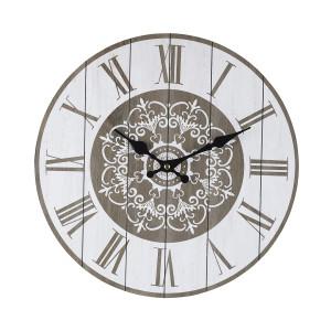 Ceas de perete din lemn alb gri Mandala Ø 34 cm x 3.8 cm
