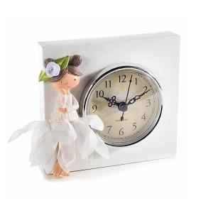Ceas de masa din polirasina alba Zana 13,5 cm x 12 h
