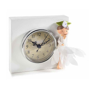 Ceas de masa din polirasina alba Doll 13,5 cm x 12 h