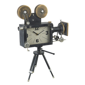 Ceas masa metal negru auriu argintiu Charles Cinema 33 cm x 16 cm x 45 h