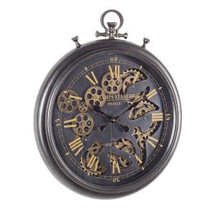 Ceas perete metal negru auriu Engrenage 52.5 cm x 7.5 cm x 61.5 h