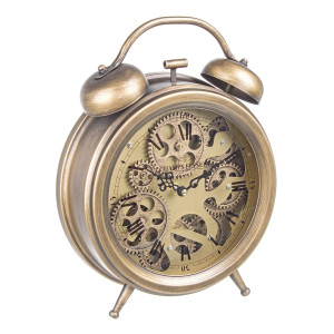 Ceas desteptator auriu antic Engrenage 26 cm x 8 cm x 33.5 h