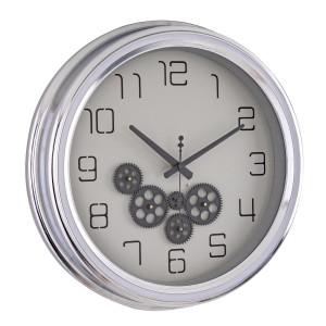 Ceas perete sticla metal argintiu negru Engrenage 52.5 cm x 8.7 cm