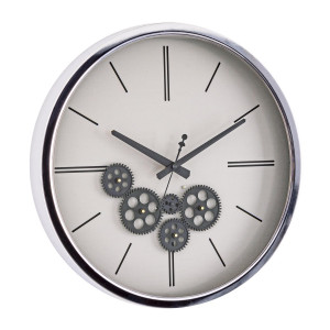 Ceas perete metal sticla alb argintiu gri Engrenage 46 cm x 5.8 cm