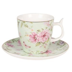 Ceasca cu farfurioara portelan verde roz Roses Ø 7 x 7 cm 0,16L
