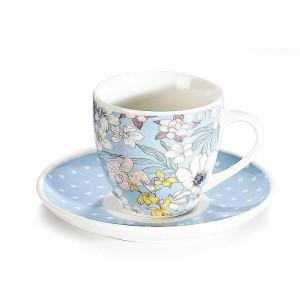 Ceasca cu farfurioara portelan cu decor floral albastru Ø 6 cm x 5 h